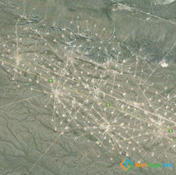 Oil Fields of Río Negro, Argentina with Roadways