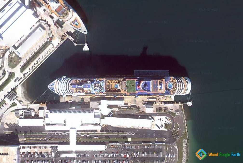 Cruise Liner Near Cape Canaveral Air Force Station, Cape Canaveral, Florida, USA
