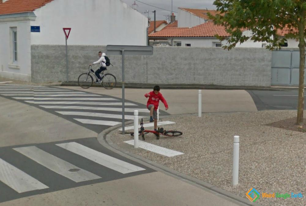 Kid Kicking His Bike, La Rochelle, France