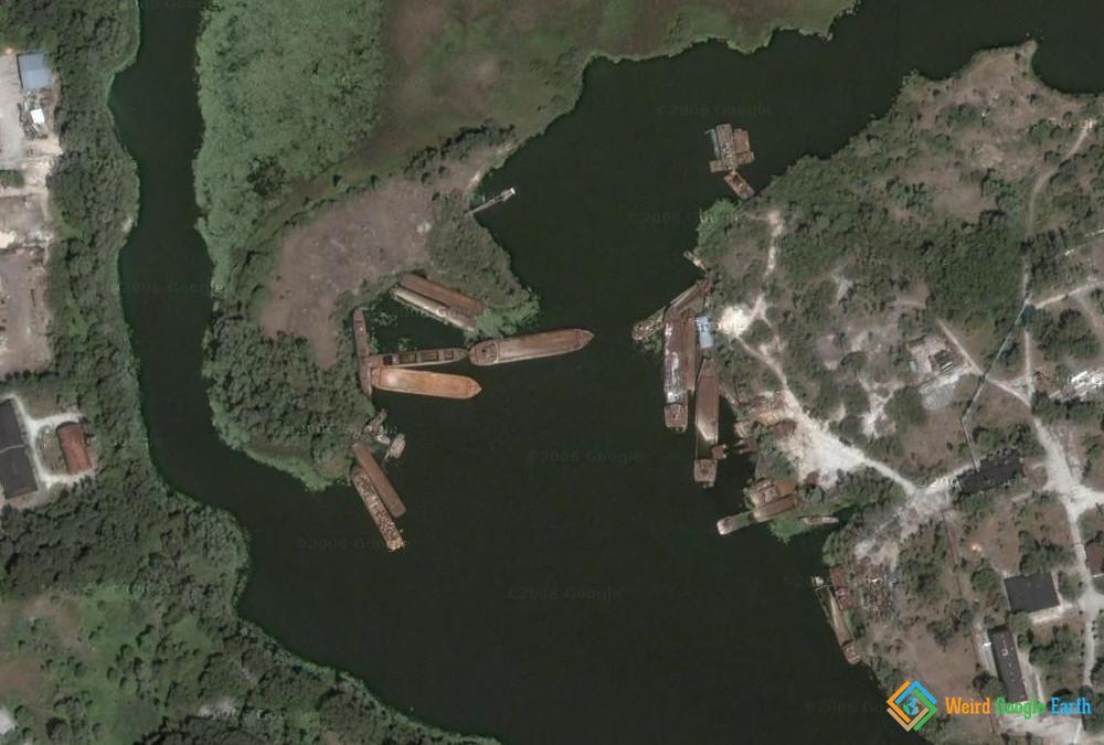 Abandoned Cargo Ships in Chernobyl, Chernobyl, Kyivs'ka oblast, Ukraine