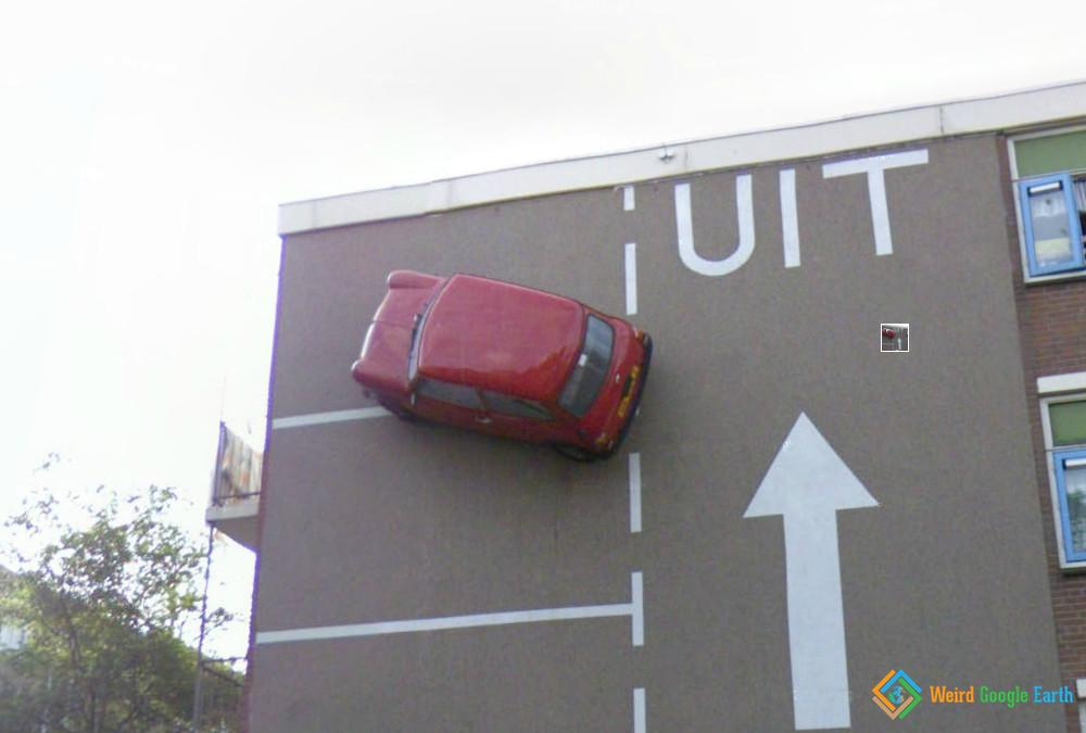 Car on the Wall, The Hague, The Netherlands