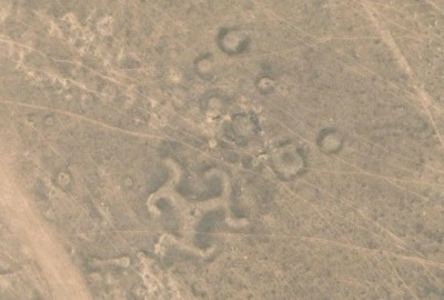Turgay Triradial Swastika, Steppe Geoglyphs, Amangeldi District, Kazakhstan