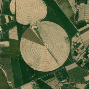 Central Pivot Irrigation in Spain, Lalueza, Huesca, Spain