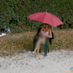 Street Girl With An Umbrella Near Venice