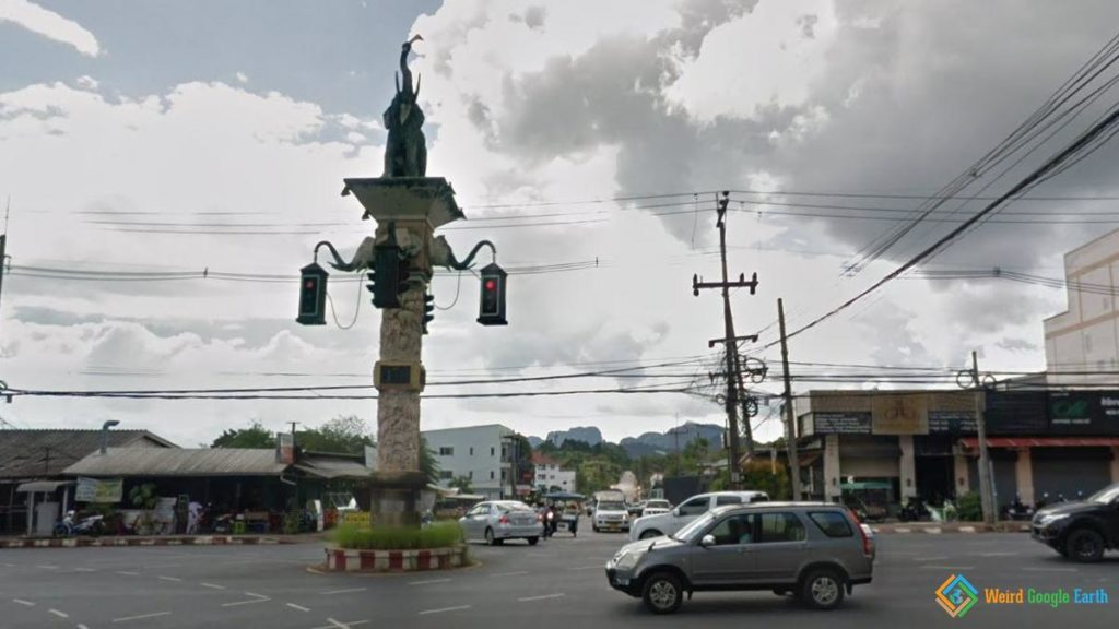 Traffic Lights with Elephant Statue, Krabi, Thailand